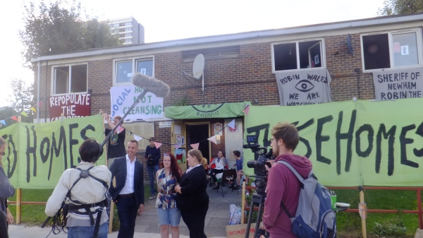 Huge media attention during the Open House occupation. September 2014