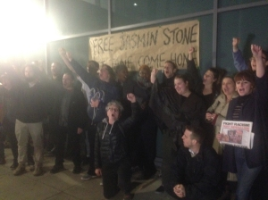 Supporters of the Focus E15 Campaign celebrate after the release of Jasmin Stone