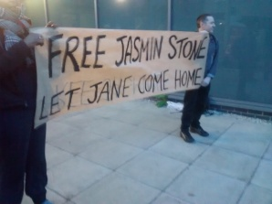 A banner was unfurled outside the custody suite, stating our demands