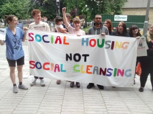 Azam pictured in the center of the picture supporting our demands for social housing