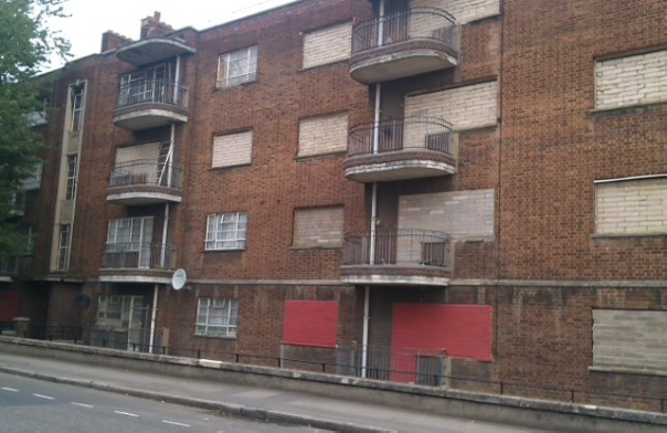 boarded up council homes
